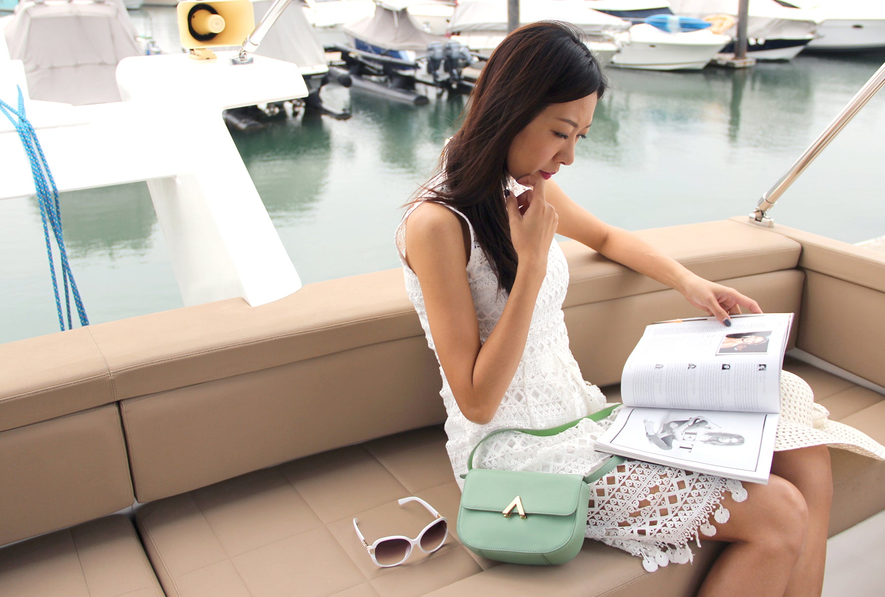 YI-MING X ESEMBLE Meet the Girl Grace Choi, Founder and Designer of Yi-ming, Model & Event ProducerPark Shoulder Bag Seafoam
