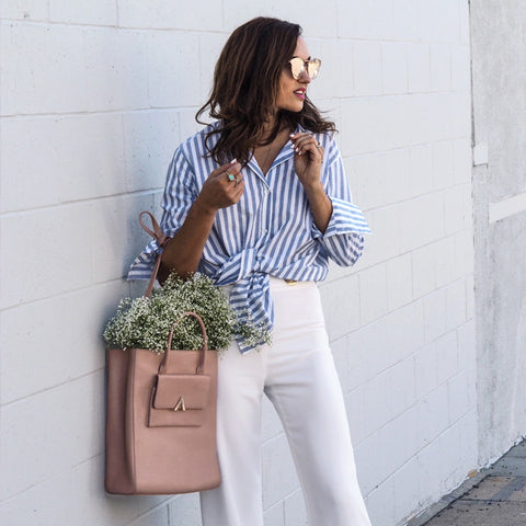 ESEMBLE bag Kiosk Tote in Blush worn by Shalice Noel baby's-breath