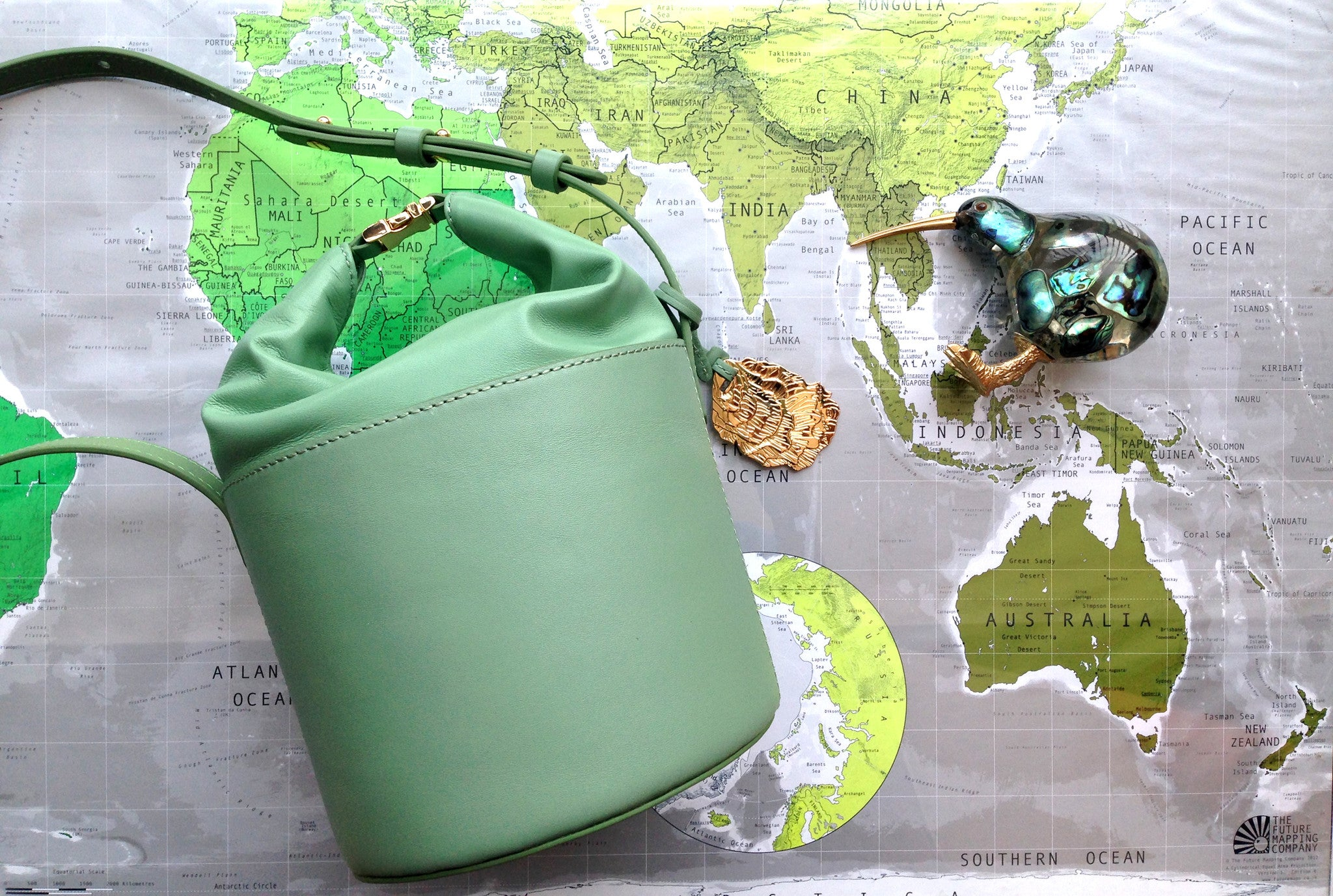 esemble dive bucket bag world map seafoam green