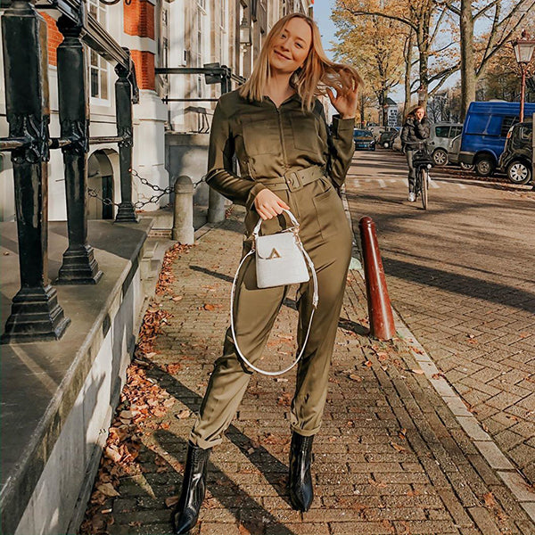 esemble seen on Julia Matyjasek AW19 Mini Bell Shoulder Bag White Croc Embossed 28112019