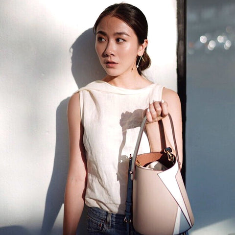 esemble seen on Lisa Chen of Style Voila SS19 Serra Bucket Bag Chai-Fog_25072019