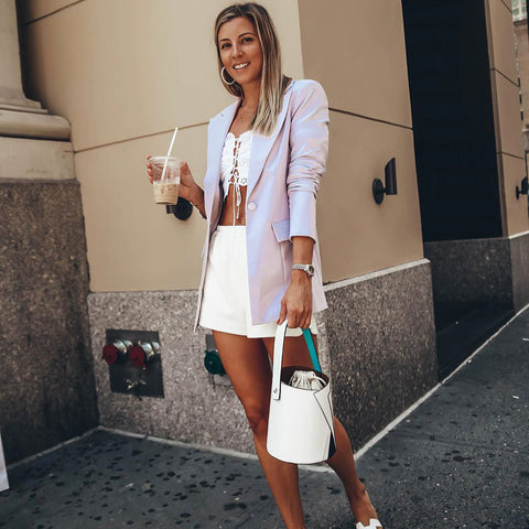 esemble seen on Olga Slesarenco of All Bueno Things SS19 Serra Bucket Bag Blanc Multi_02082019