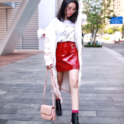 esemble seen on aw17 park shoulder bag in blush Miss Charming CN 大小姐