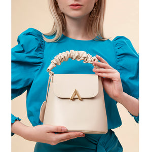 Pre-order - Scrunchy Handle Bell Shoulder Bag - Almond