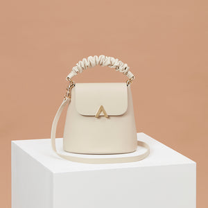 Scrunchy Handle Bell Shoulder Bag - Almond