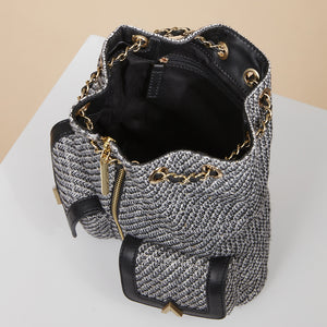 Billie Backpack - Black/White Tweed
