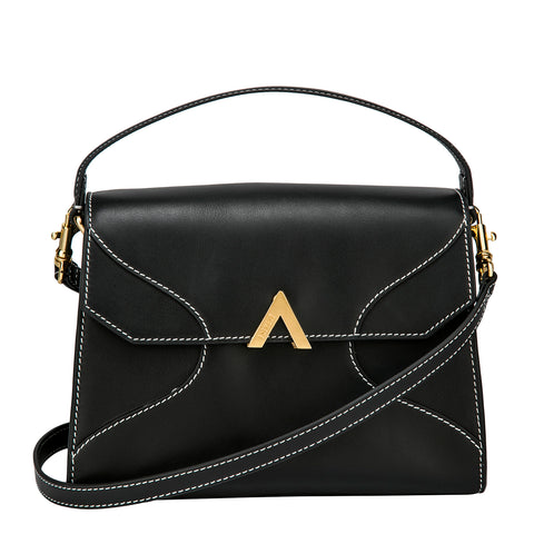 Mini Bell Shoulder Bag - Black Croc Embossed
