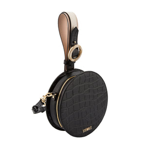 Kaia Circle Bag - Black/Chai Croc Embossed