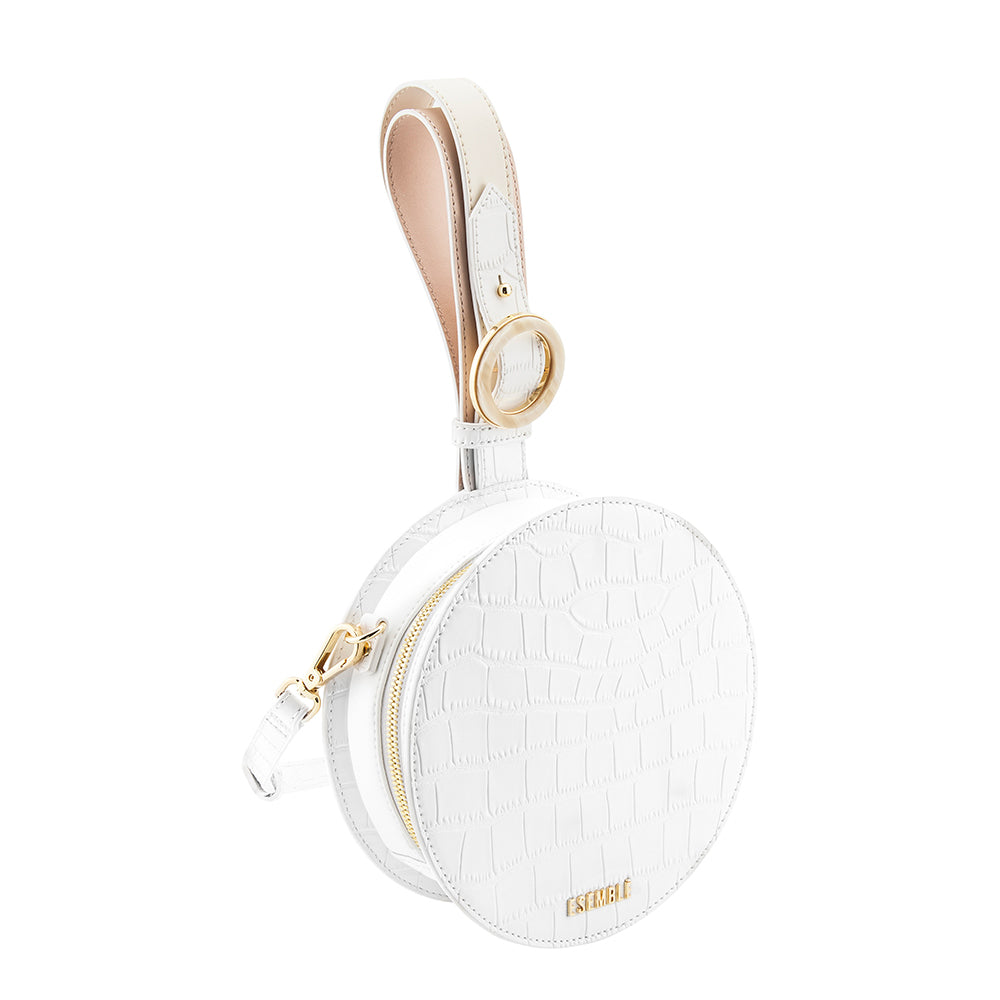 Kaia Circle Bag - White/Chai Croc Embossed