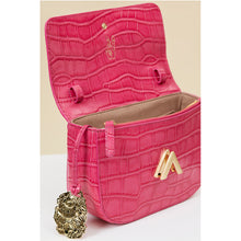 Load image into Gallery viewer, Pre-order - Park Shoulder Bag – Fuchsia Croc Embossed