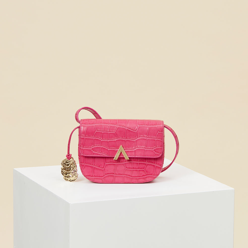 Pre-order - Park Shoulder Bag – Fuchsia Croc Embossed