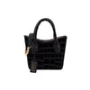 Rei Mini Tote - Black Croc Embossed