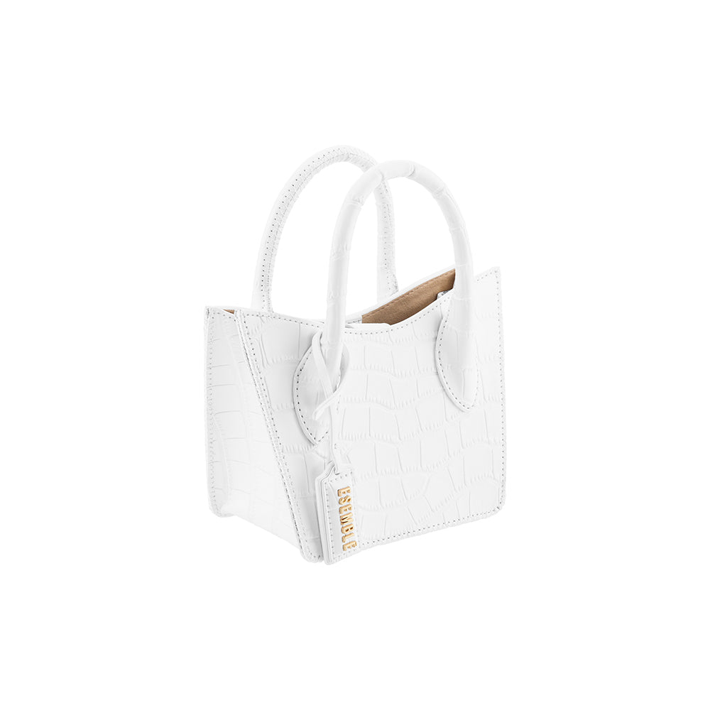 Rei Mini Tote - White Croc Embossed
