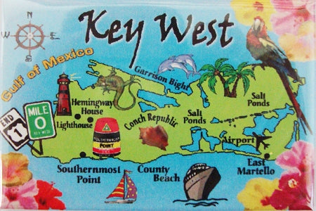 Click image to open expanded view Key West Map Magnet with Landmarks Souvenir Gift of Florida 3 1/2 Inch Long