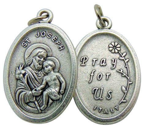"Set of Five Saint Joseph and Child Medal 3/4"" Metal Catholic Saint Pendant Gift Made in Italy"