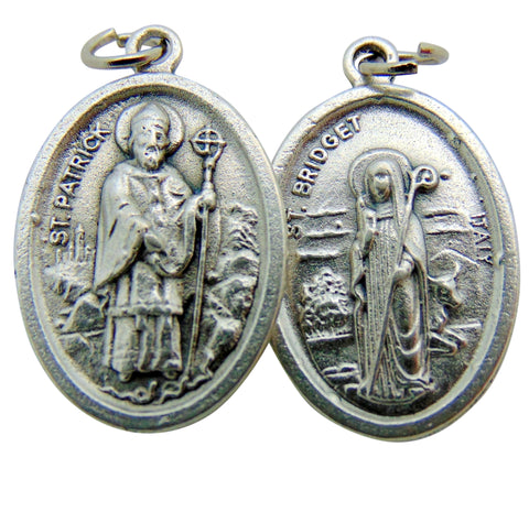 "Set of Five St Patrick/St Bridget Medal 3/4"" Metal Catholic Saint Pendant Gift Made in Italy"
