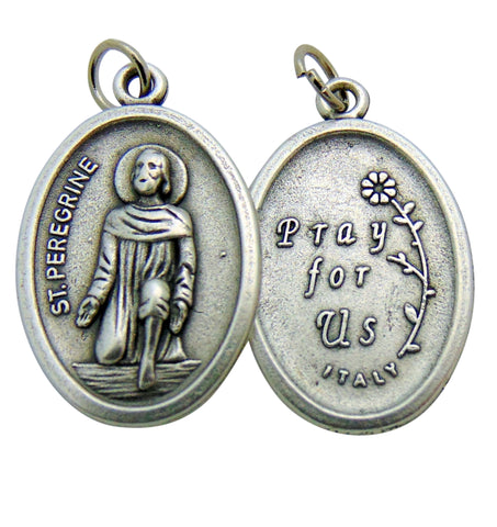 "Set of Five Saint Peregrine Medal 3/4"" Metal Catholic Saint Pendant Gift Made in Italy"