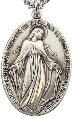 "MRT Sterling Silver LARGE Miraculous Mary Prayer Pendant 1 3/8"" w S Steel Chain"