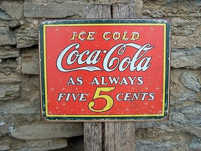"Vintage Antique Style Coca Cola 5 Cents Sign Retro Ad Cold Coke Decor USA 16""L"