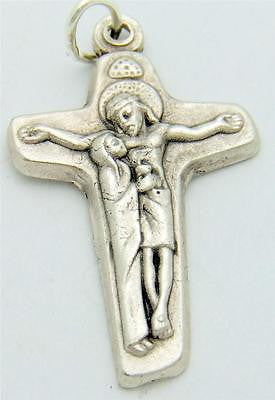 MRT Mother & Son Jesus w Mary Cross Silver Plate Crucifix Medal Pendant Gift 1""
