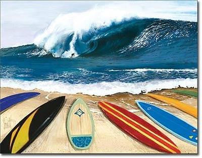Big Wave Surfing Surf Board Line Retro Tin Sign Home Bar Wall Decor Gift USA 16""