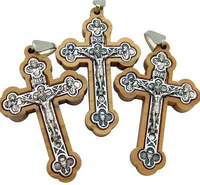 "Lot Of 3 Wood & Silver Plate Pectoral Crucifix Pendant Cross 2""Long from Italy"