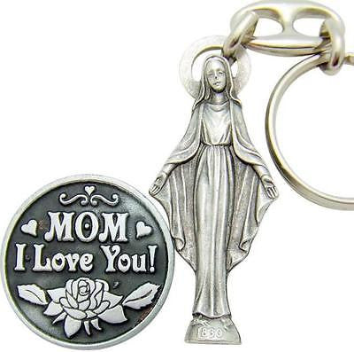 "MRT Miraculous Medal Keychain Ring & Coin Mothers Day Gift Set Alloy 1"" Italy"