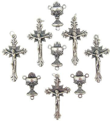 MRT Lot Of 10 First Communion Rosary Parts Chalice Centerpiece Center & Cross
