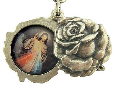 Catholic Key Chain Silver Gild Saint Padre Pio Divine Mercy Rose Slide Italy