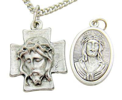 Ecce Homo Face of Jesus 2 Piece Gift Set Lot Necklace & Medal From Italy
