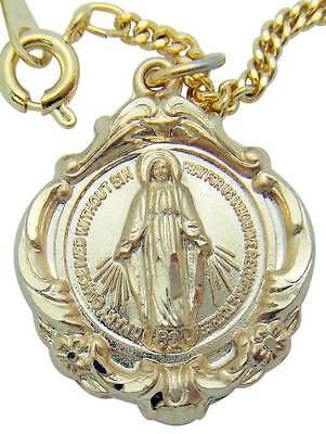 "14K Gold on Sterling Silver 1"" Miraculous Mary Medal w 18"" Chain Boxed Gift"