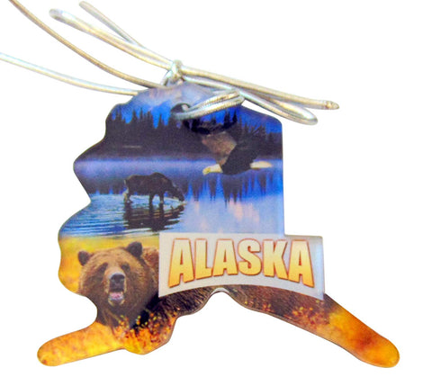 Alaska Christmas Ornament Acrylic State Shaped Decoration Boxed Gift Made in The USA