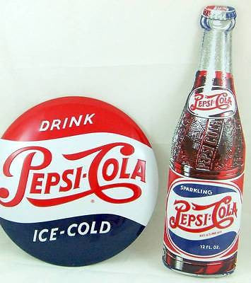 "SPECIAL 2 Pepsi Tin Sign 3D Die Cut Embossed Gift Set Lot 14"" Domed & 21"" Bottle"