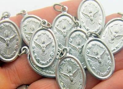 "10 Lot Holy Spirit Silver Tone Aluminum Saint Medal Catholic 3/4"" Italy"