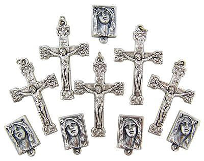 "MRT Rosary Part Lot Of 10 Silver Plate Sorrowful Center 3/4"" & 1"" Cross Italy"