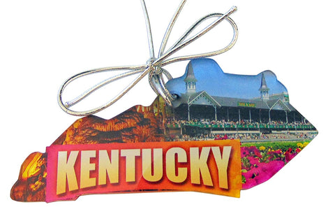 Kentucky Christmas Ornament Acrylic State Shaped Decoration Boxed Gift Made in The USA