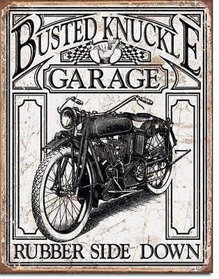 "Busted Knuckle Garage Bike Biker Shop Funny Tin Sign Decor 16""x12"" USA Gift"