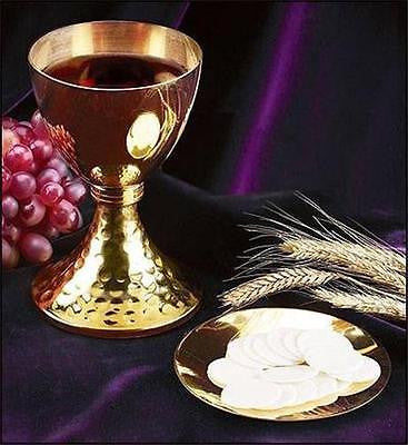 "Solid Brass Catholic Mass Altar Chalice w Paten & Casted Node 7 3/4"" H Gift"