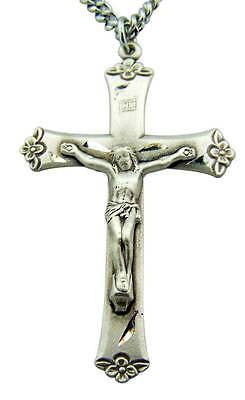 ".925 Sterling Silver Crucifix 1 3/4"" Large Rosary Cross Gift w S Steel Chain"