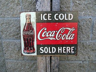 Vintage Antique Style Coca Cola Sign Retro Ad Ice Cold Coke Home Decor USA 16""