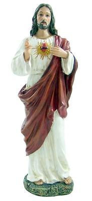 "MRT Sacred Heart of Jesus Hand Painted Home Decor Gift Figure 11"" Tall Statue"