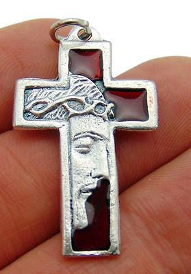 "Jesus Confirmation Crucifix Red Enamel Metal Cross Pendant 1 1/4""L Gift"