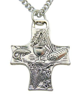 First Communion Bread of Life Cross Pendant