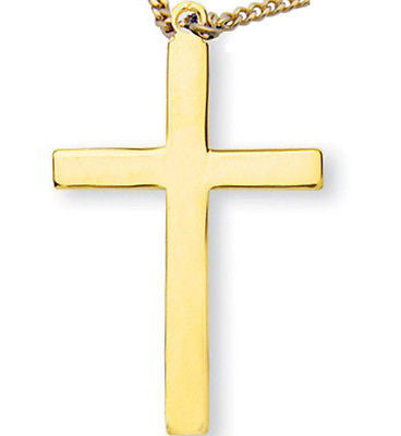 "MRT Gold Over Solid Sterling Silver Cross Pendant w Chain 1.25"" Christian Item"