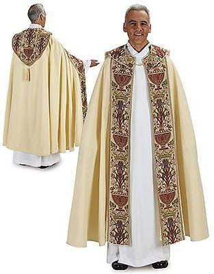 "MRT Coronation Tapestry Cope Catholic Priest Vesment Gift 56""L w/ Understole"