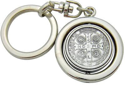 "MRT St Benedict Medal Keychain Metal Swivel Key Ring Saint Travel 3.5"" Italy"