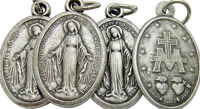 "4 Lot Catholic Miraculous Mary Holy Medal Gift Silver Tone Metal 3/4"" Italy"