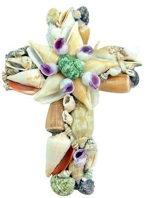 "Real Colorful Seashell Wall Cross 8"" Long Christian Nautical Beach Home Decor"
