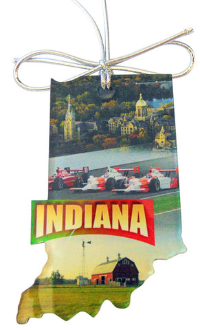 Indiana Christmas Ornament Acrylic State Shaped Decoration Boxed Gift Made in The USA