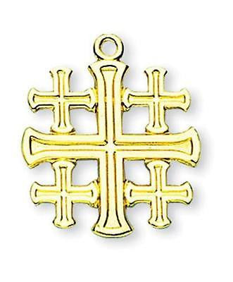 "MRT Gold Over Sterling Silver 13/16"" Jerusalem Cross Crusaders Heraldic Pilgrims"